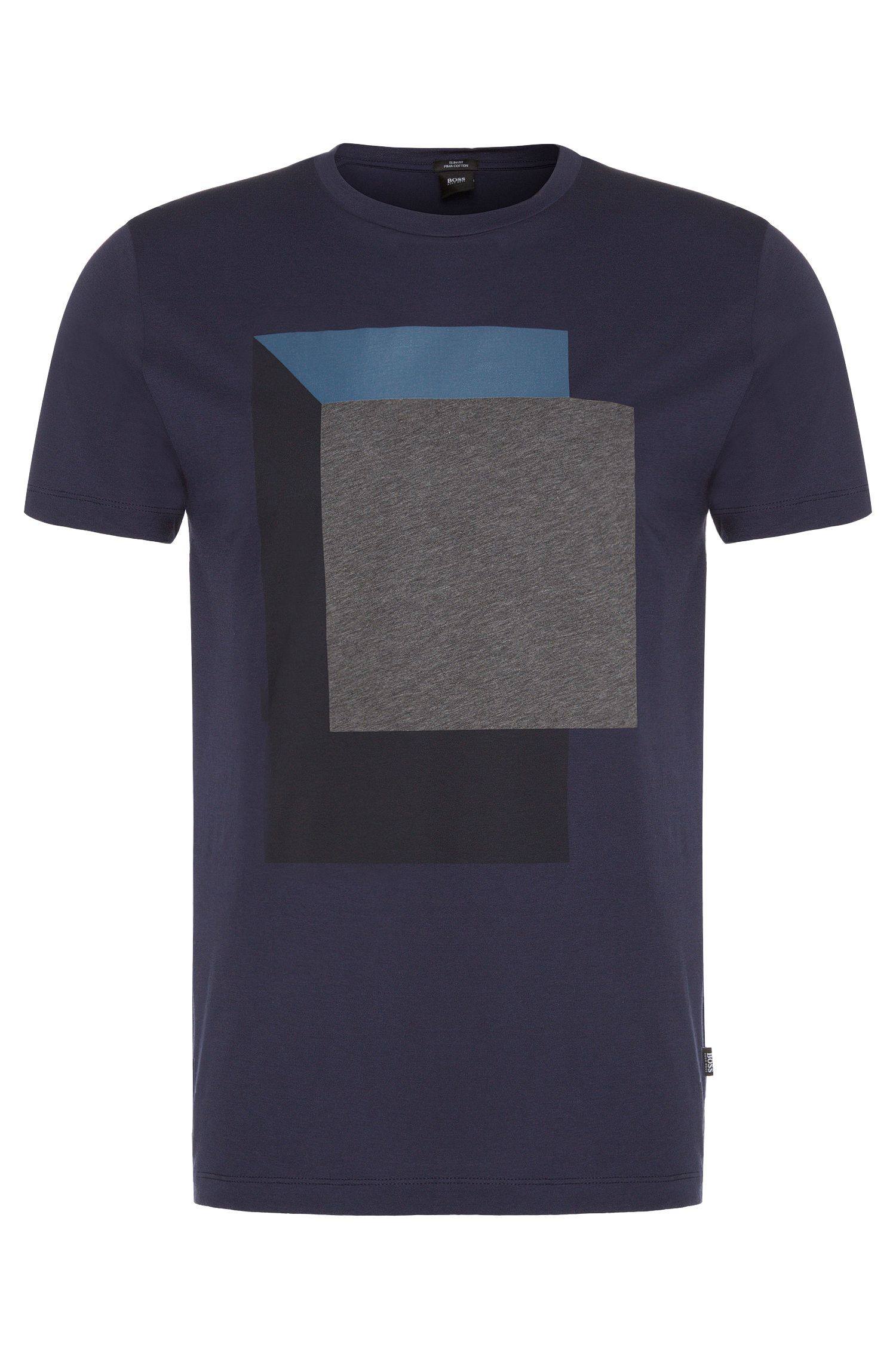 Slim-fit t-shirt in cotton with geometric printed front motif: 'Tessler 20'