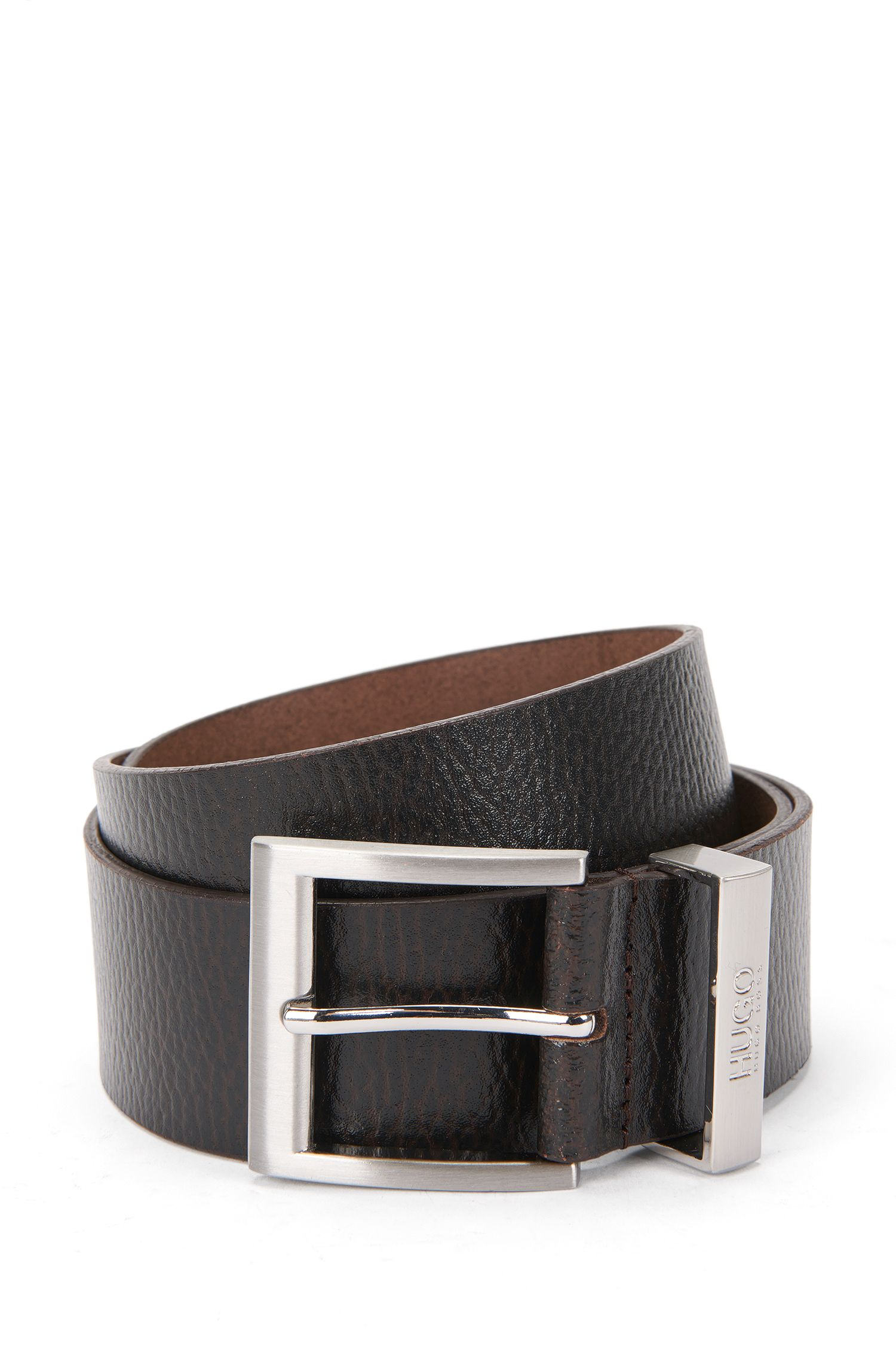 Belt in grained leather: 'C-Budy_Sz40-ltgr'