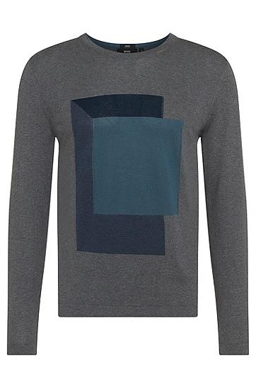 Slim-Fit Pullover aus Baumwolle mit Intarsienstickerei: 'Haiden', Grau
