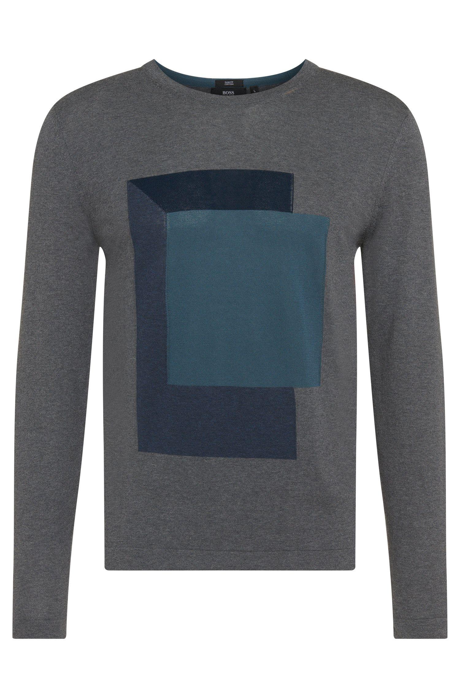 Slim-Fit Pullover aus Baumwolle mit Intarsienstickerei: 'Haiden'