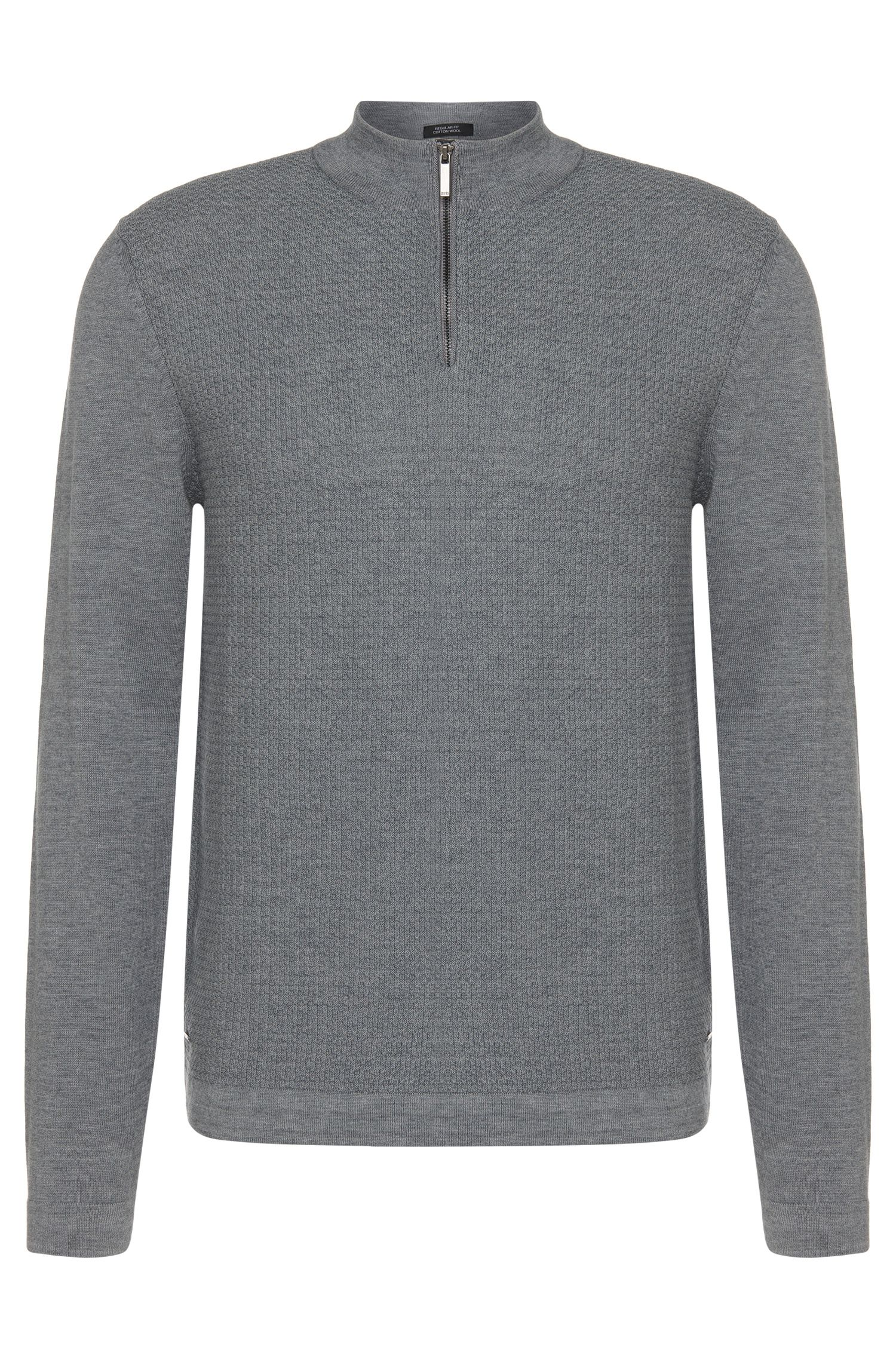 Regular-fit sweater in cotton blend with short band collar: 'Henderson'