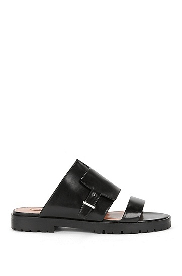 Runway Edition BOSS Bespoke flat leather sandals , Black