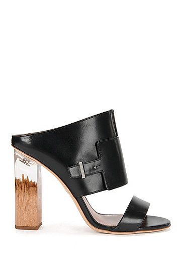 Runway Edition BOSS Bespoke wood and transparent heel leather sandals , Black