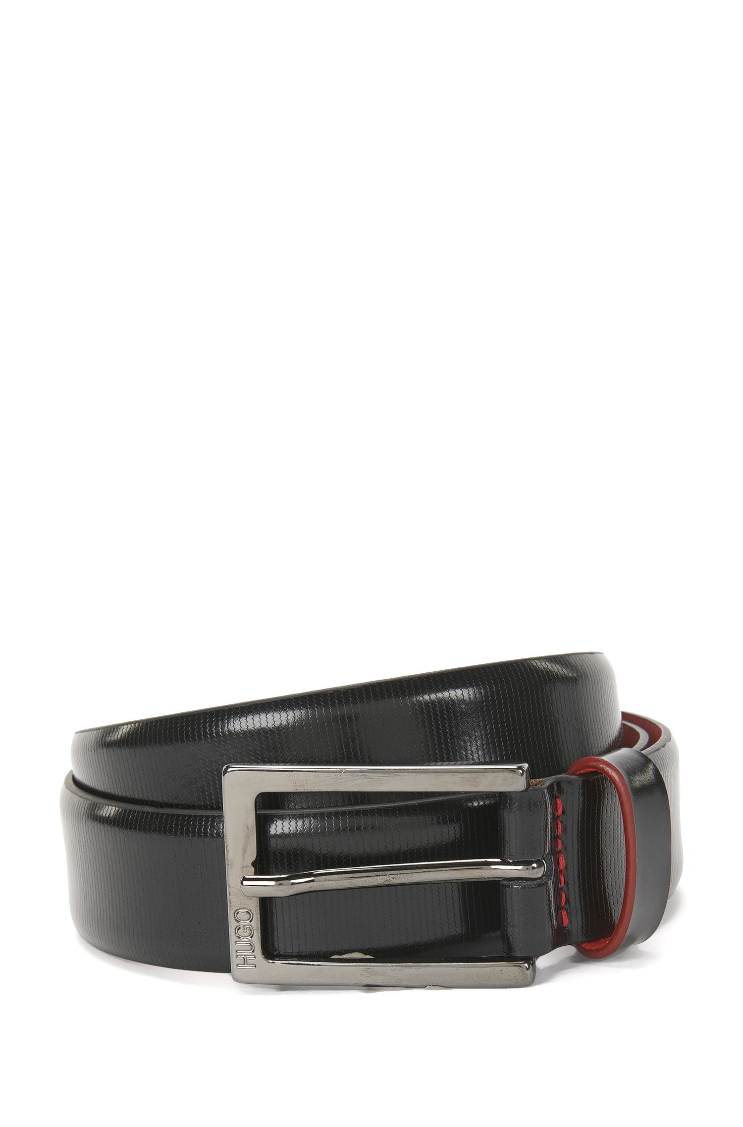 Belt in finely textured patent leather: 'Giado_Sz30_ptem'