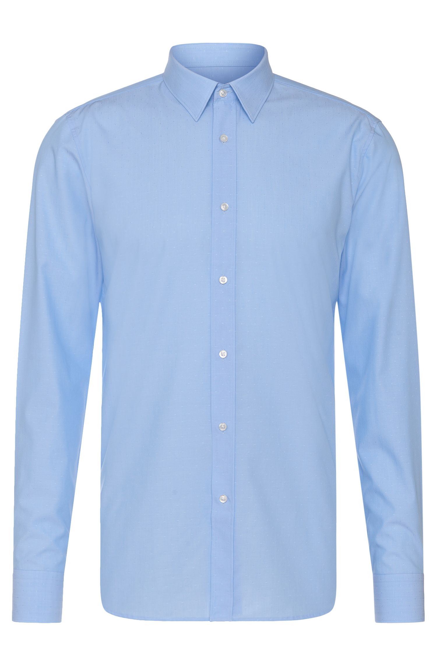 Finely patterned slim-fit shirt in pure cotton: 'Elisha01'