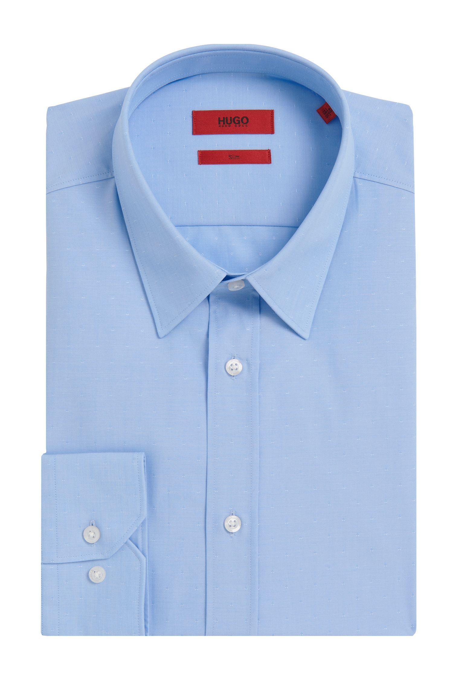 Slim-fit overhemd van zuivere katoen met een fijn dessin: 'Elisha01'