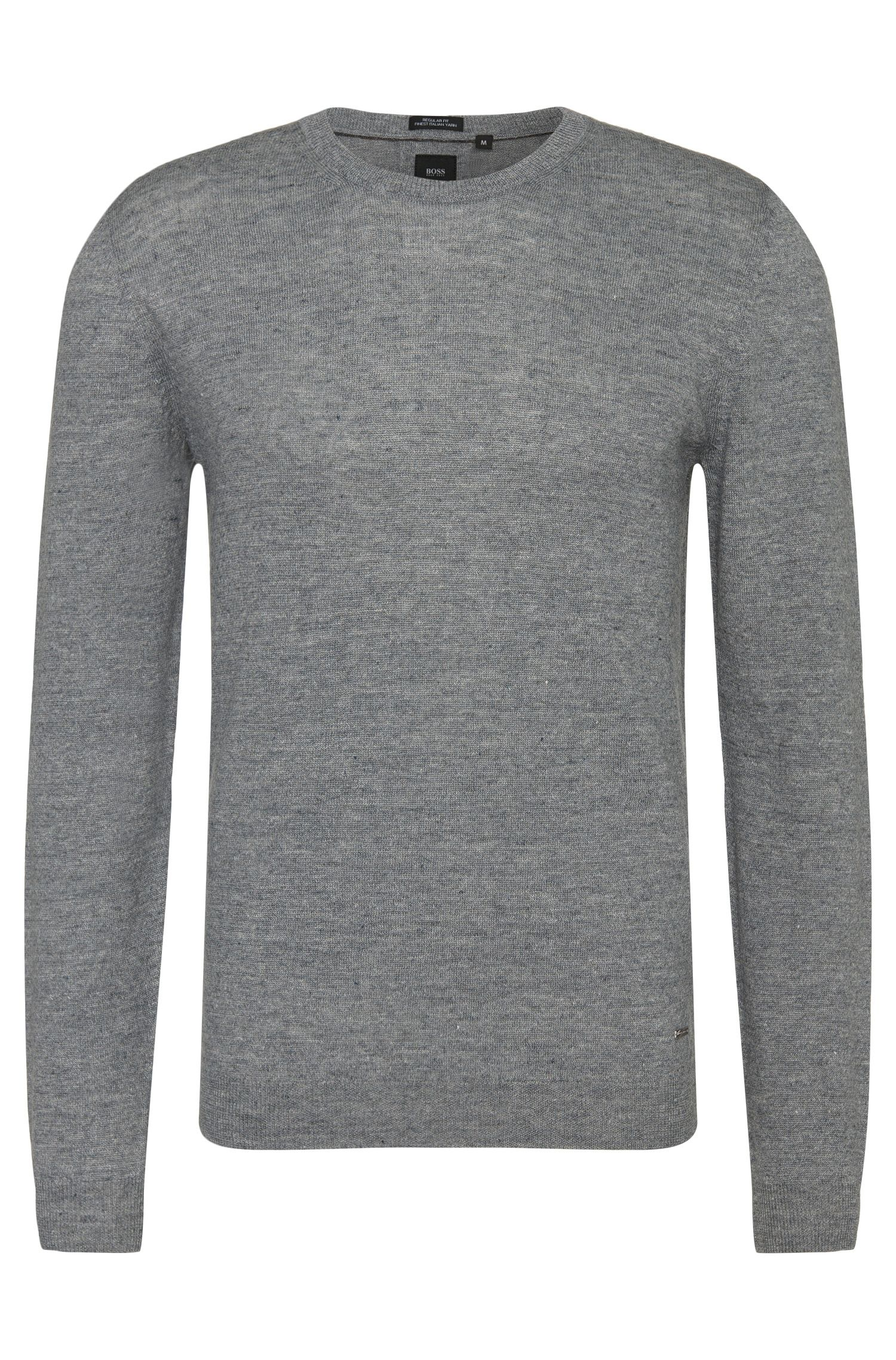 Pull Regular Fit tailored en lin mélangé : « T-Hannes »