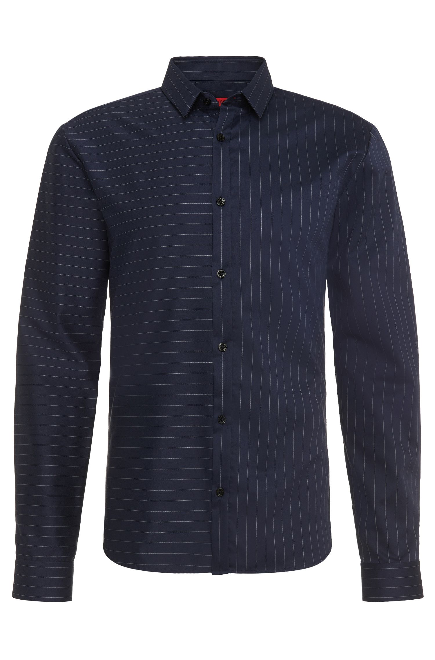 Chemise Slim Fit en coton à rayures horizontales: «Ero3»
