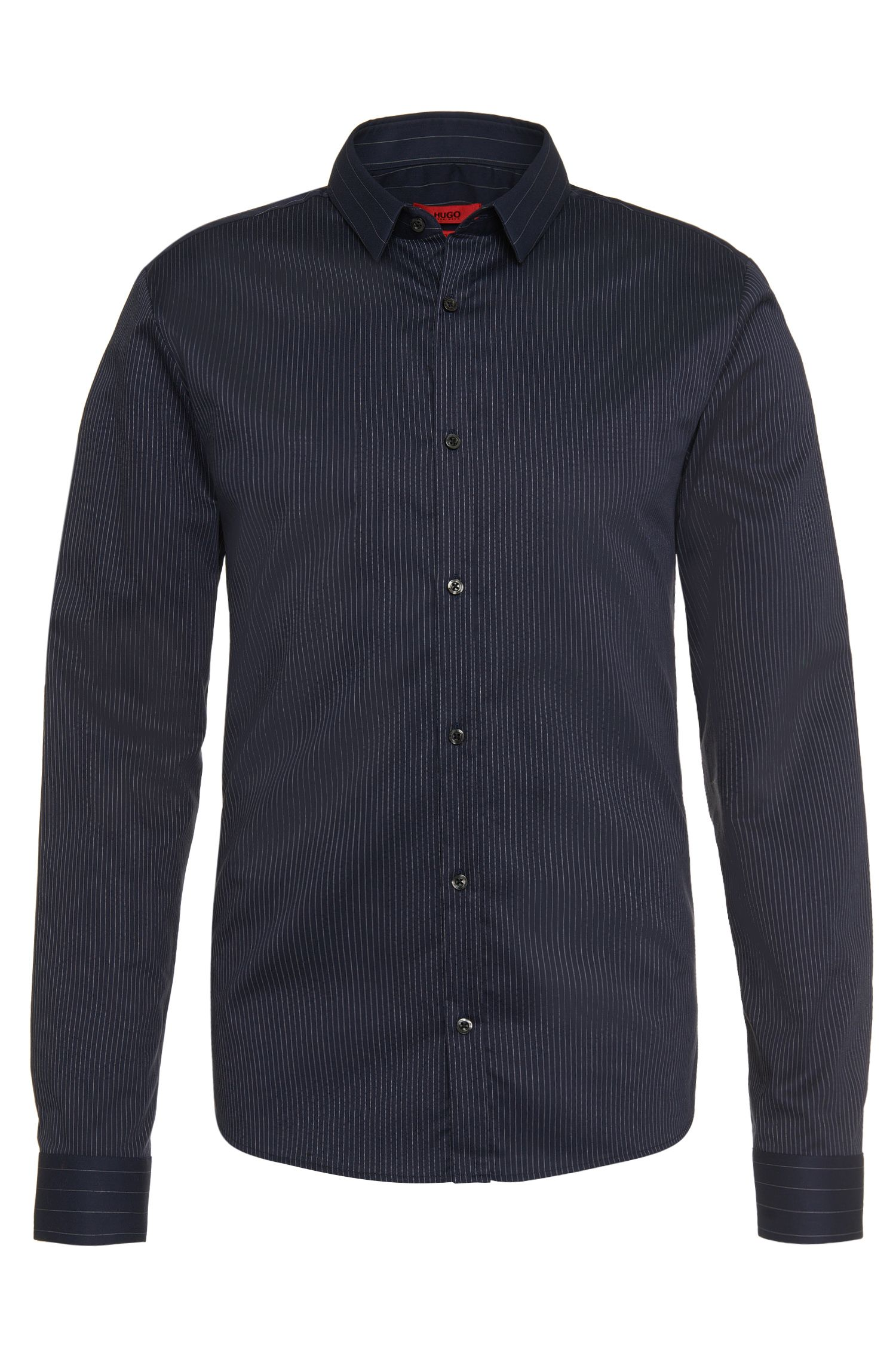 Striped slim-fit shirt in pure cotton: 'Ero3'