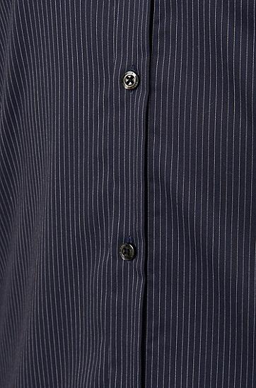 Gestreiftes Slim-Fit Hemd aus Baumwolle: 'Ero3', Dunkelblau