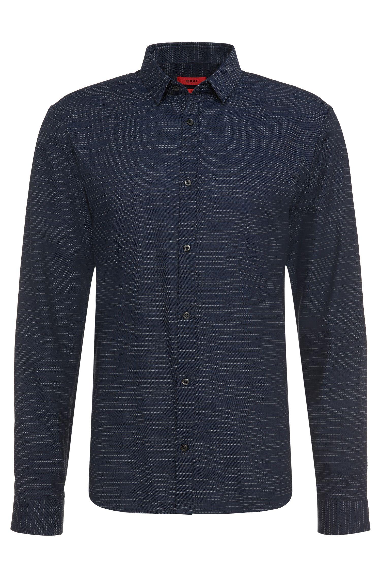 Slim-fit overhemd van katoen met fijne dwarsstrepen: 'Ero3'
