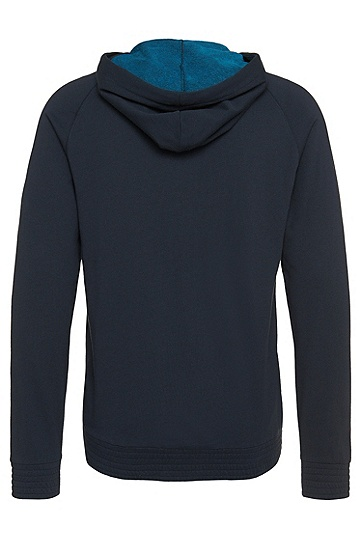 Sweatshirt-Jacke mit Kapuze aus reiner Baumwolle: 'Jacket Hooded', Dunkelblau