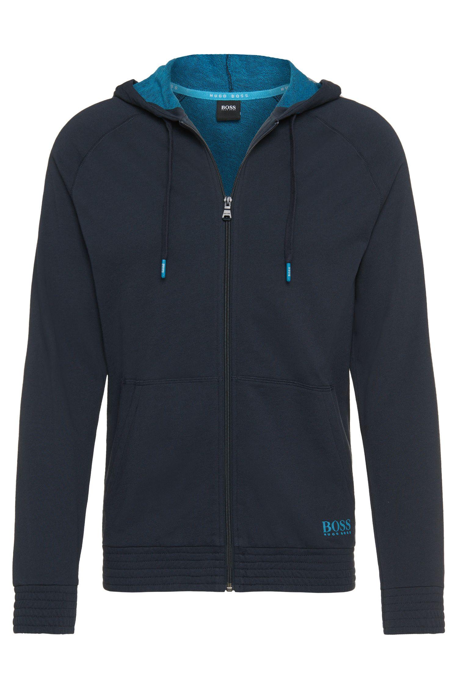 Sweatshirt-Jacke mit Kapuze aus reiner Baumwolle: 'Jacket Hooded'