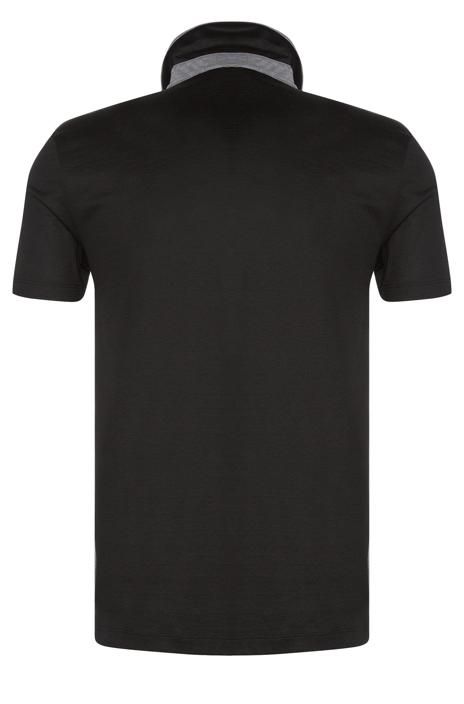 Slim-Fit Poloshirt aus merzerisierter Baumwolle im Struktur-Mix: 'Place 11'