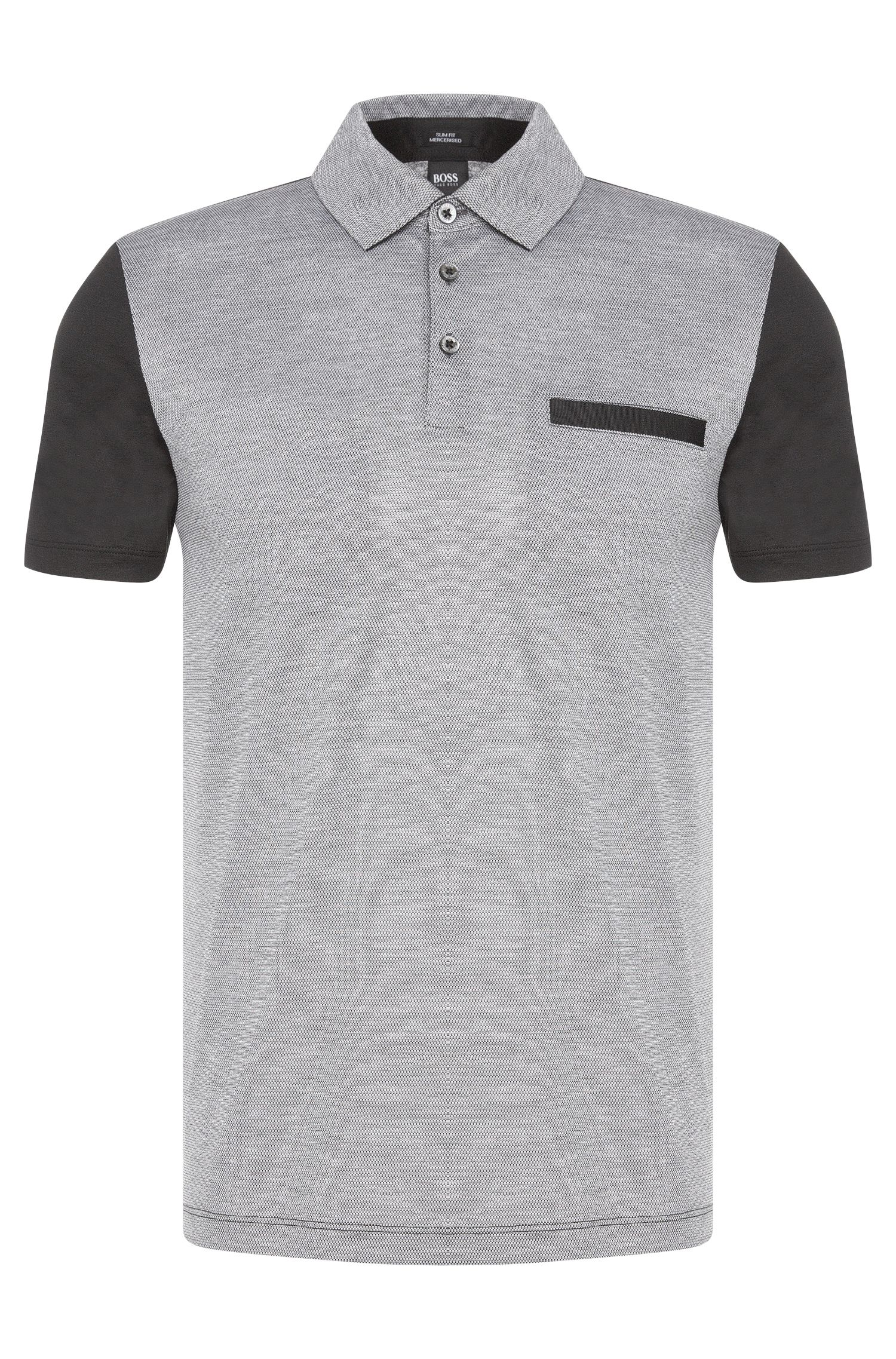 Slim-fit polo shirt made from mercerised cotton in a mix of textures: 'Place 11'