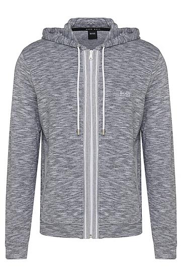 Melierte Sweatshirt-Jacke aus Baumwolle mit Kapuze: 'Jacket Hooded', Grau