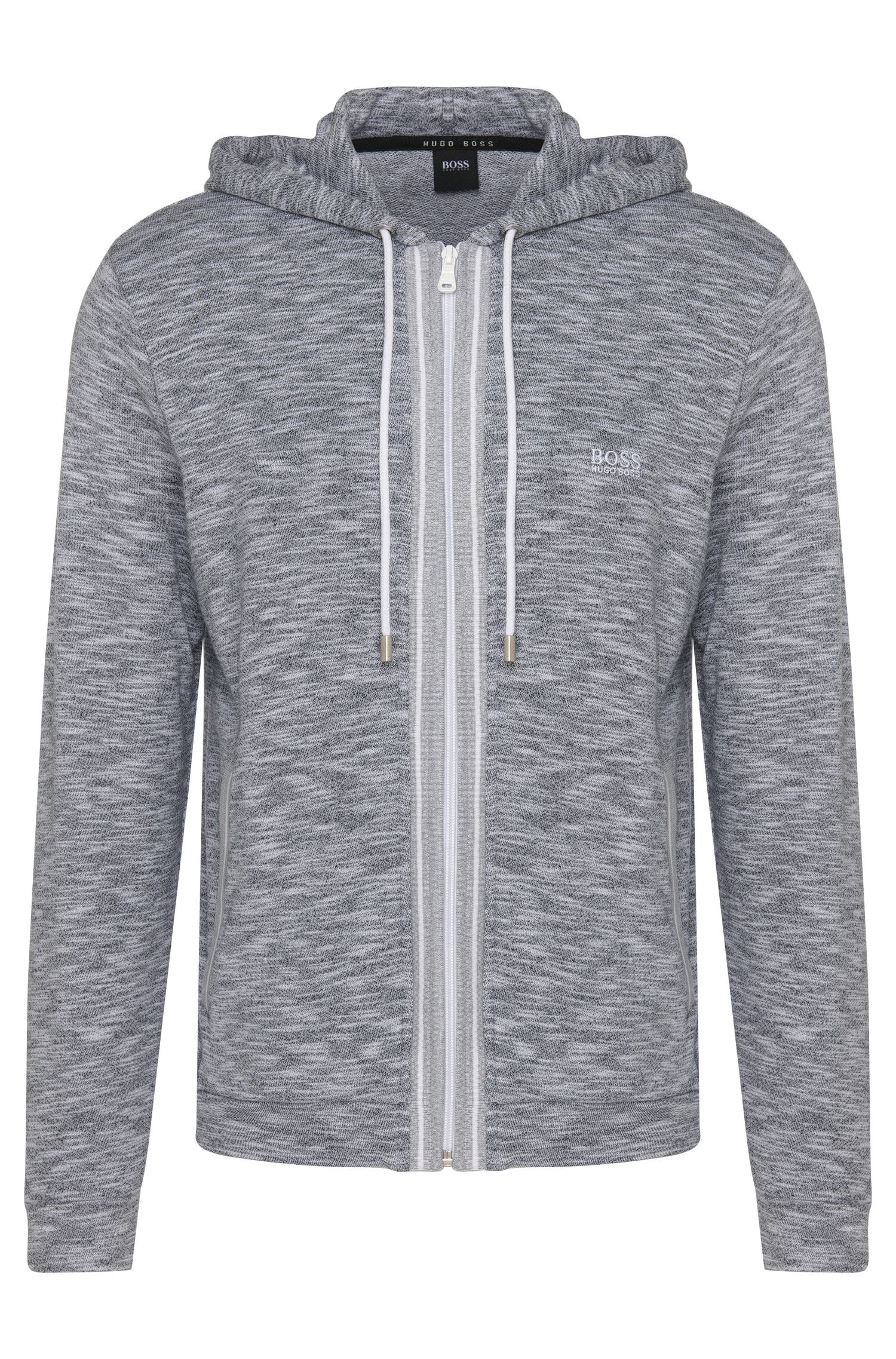 Blouson sweat chiné en coton à capuche: «Jacket Hooded»