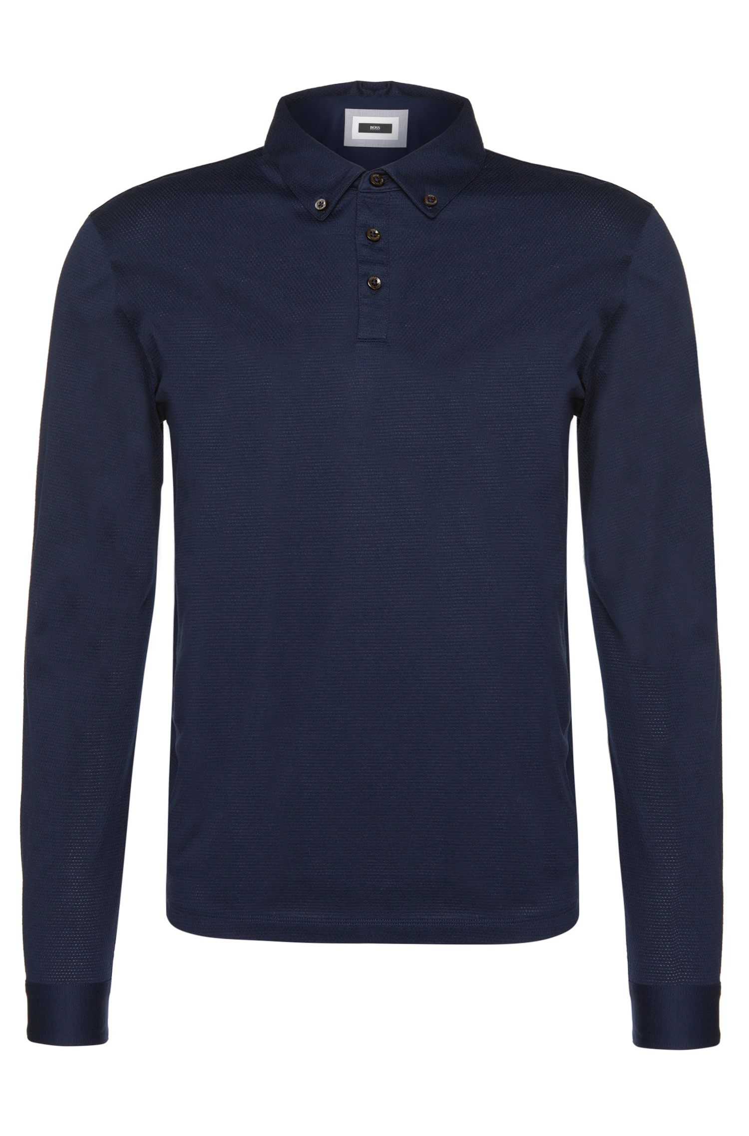 Regular-fit long-sleeved polo shirt in cotton: 'Pickell 02'