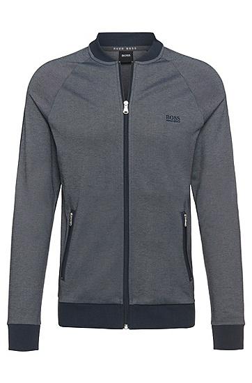 Sweatshirt-Jacke aus Baumwoll-Mix: 'College Jacket Zip', Dunkelblau