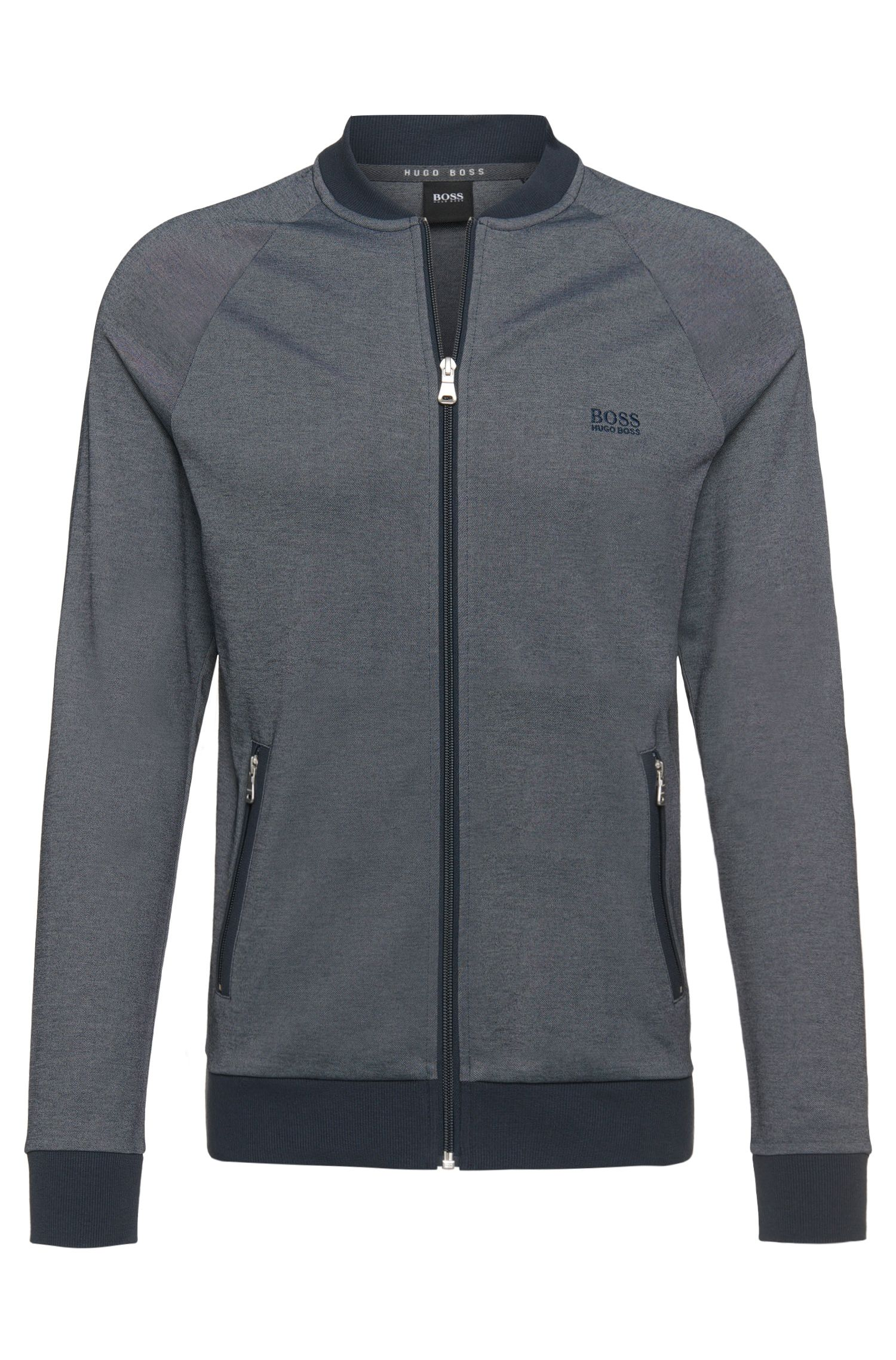 Blouson sweat en coton mélangé : « College Jacket Zip »