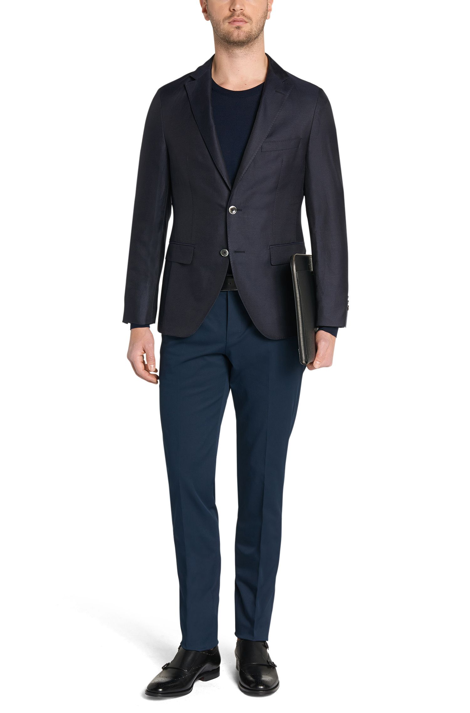 Unifarbener Slim-Fit Pullover aus reiner Schurwolle: 'Leno-H'