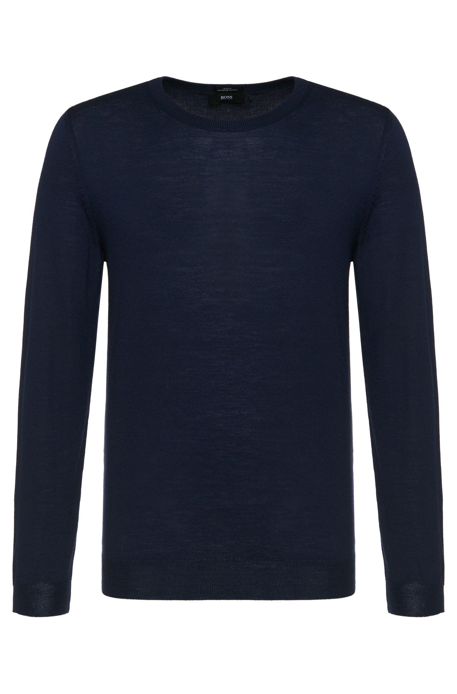 Effen slim-fit trui van zuivere scheerwol: 'Leno-H'