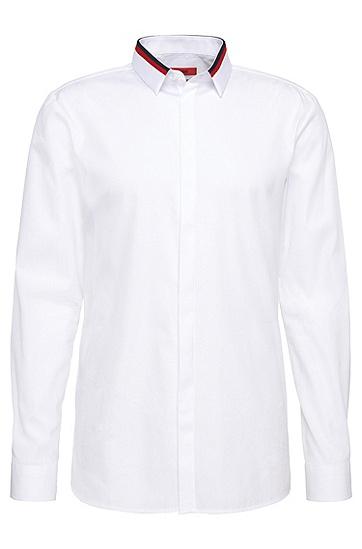 Slim-Fit Hemd aus Baumwolle mit verdeckter Knopfleiste: 'Ewid', Weiß