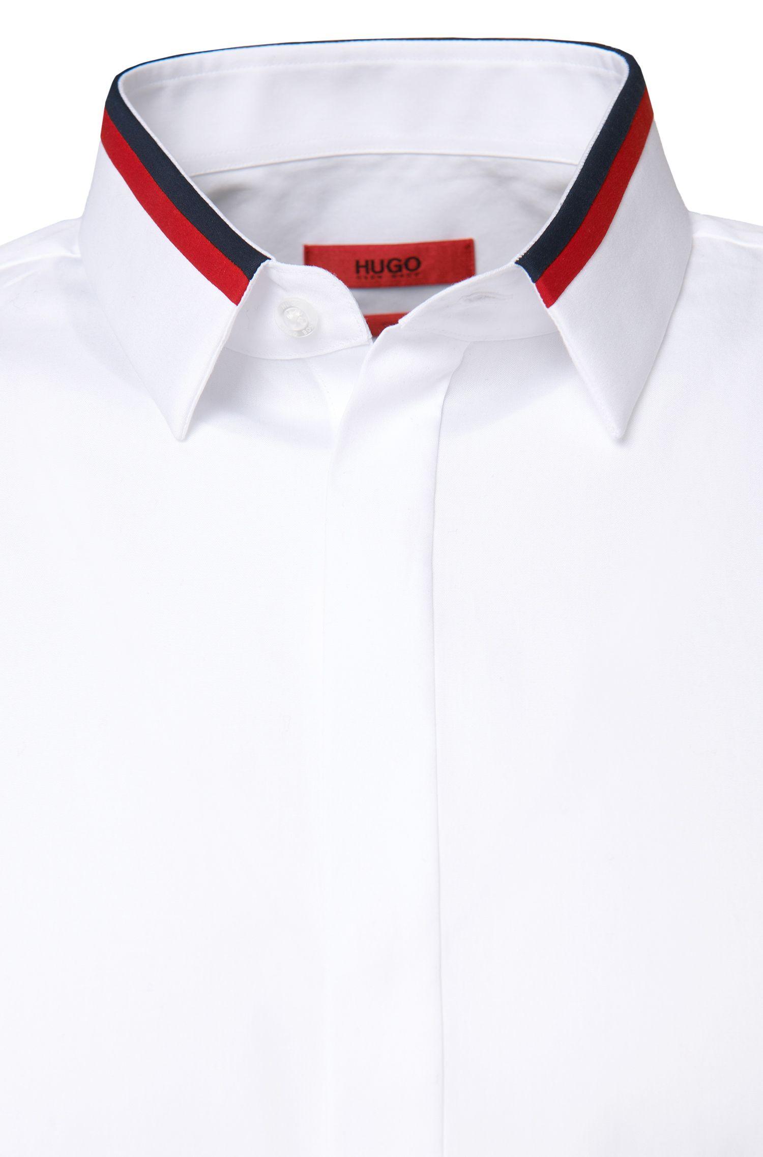 Slim-fit overhemd van katoen met een verdekte knoopsluiting: 'Ewid'