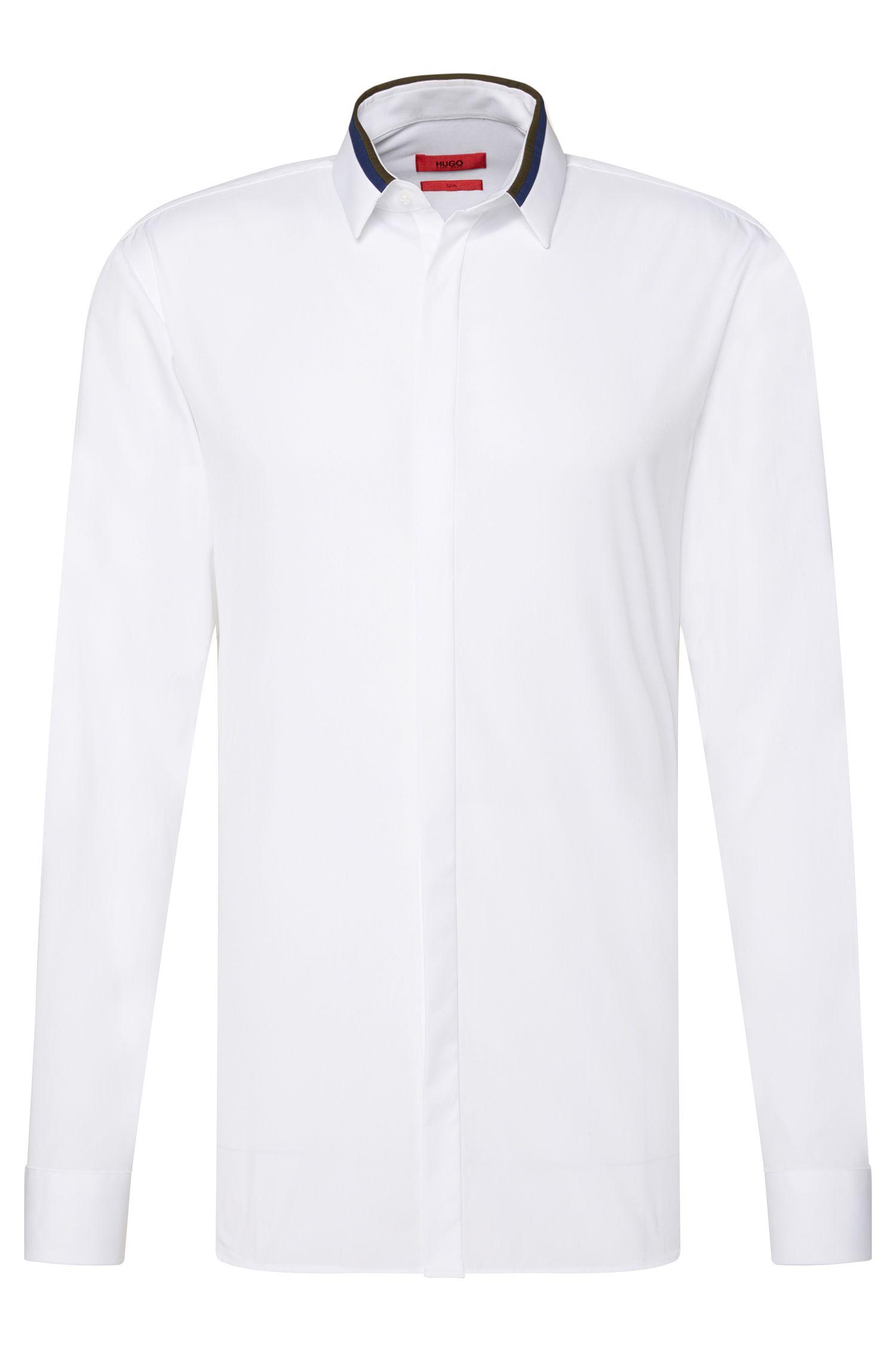 Chemise Slim Fit en coton à patte de boutonnage invisible: «Ewid»