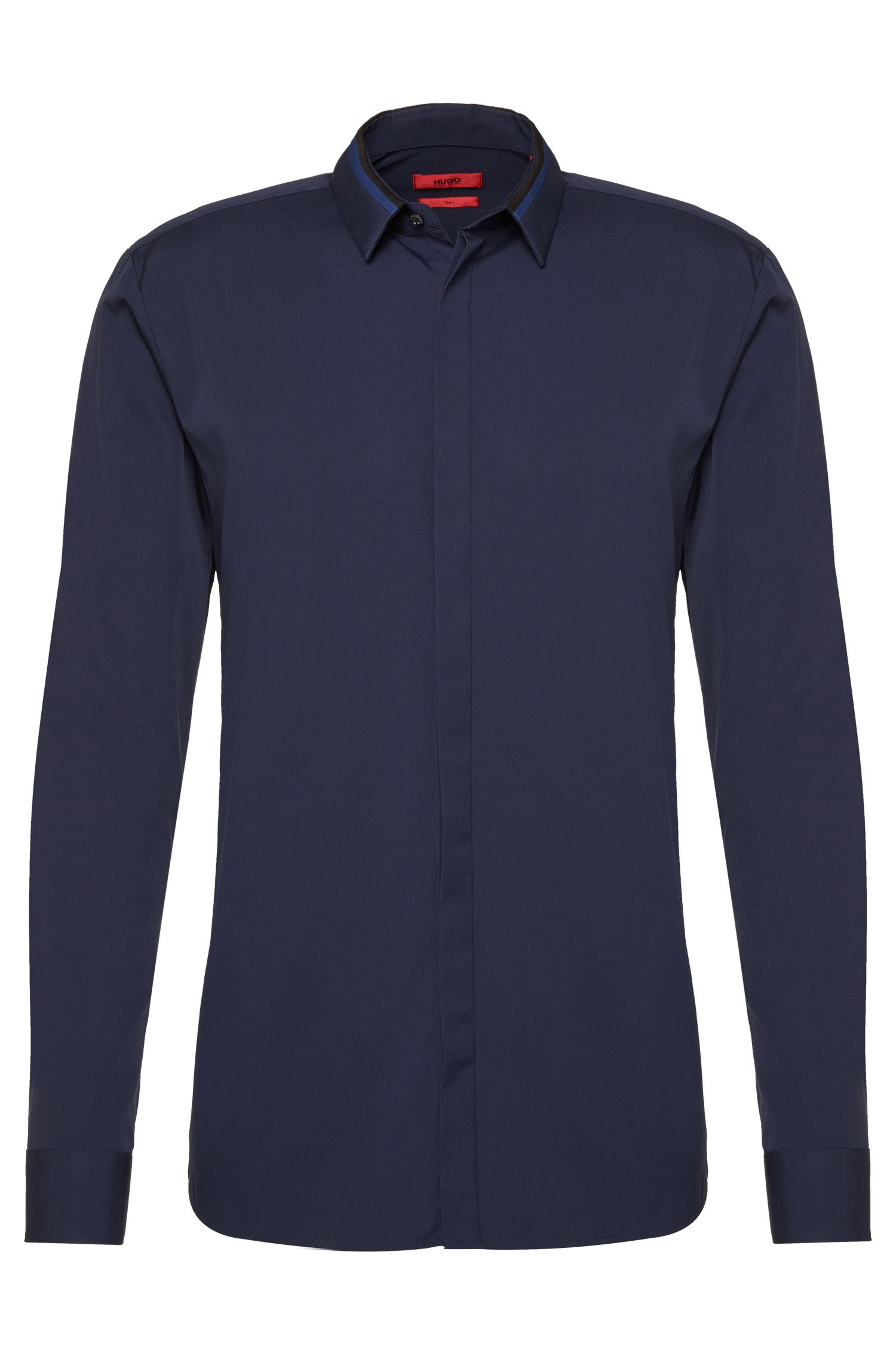 Slim-fit shirt in cotton with concealed button placket: 'Ewid'