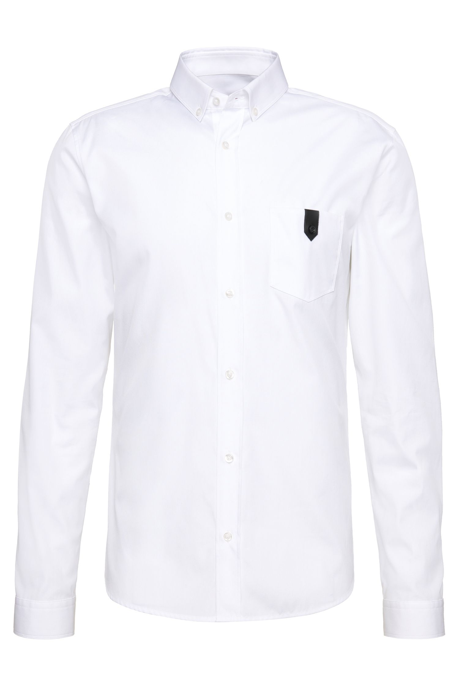 Slim-fit shirt in cotton with breast pocket: 'Enthon'