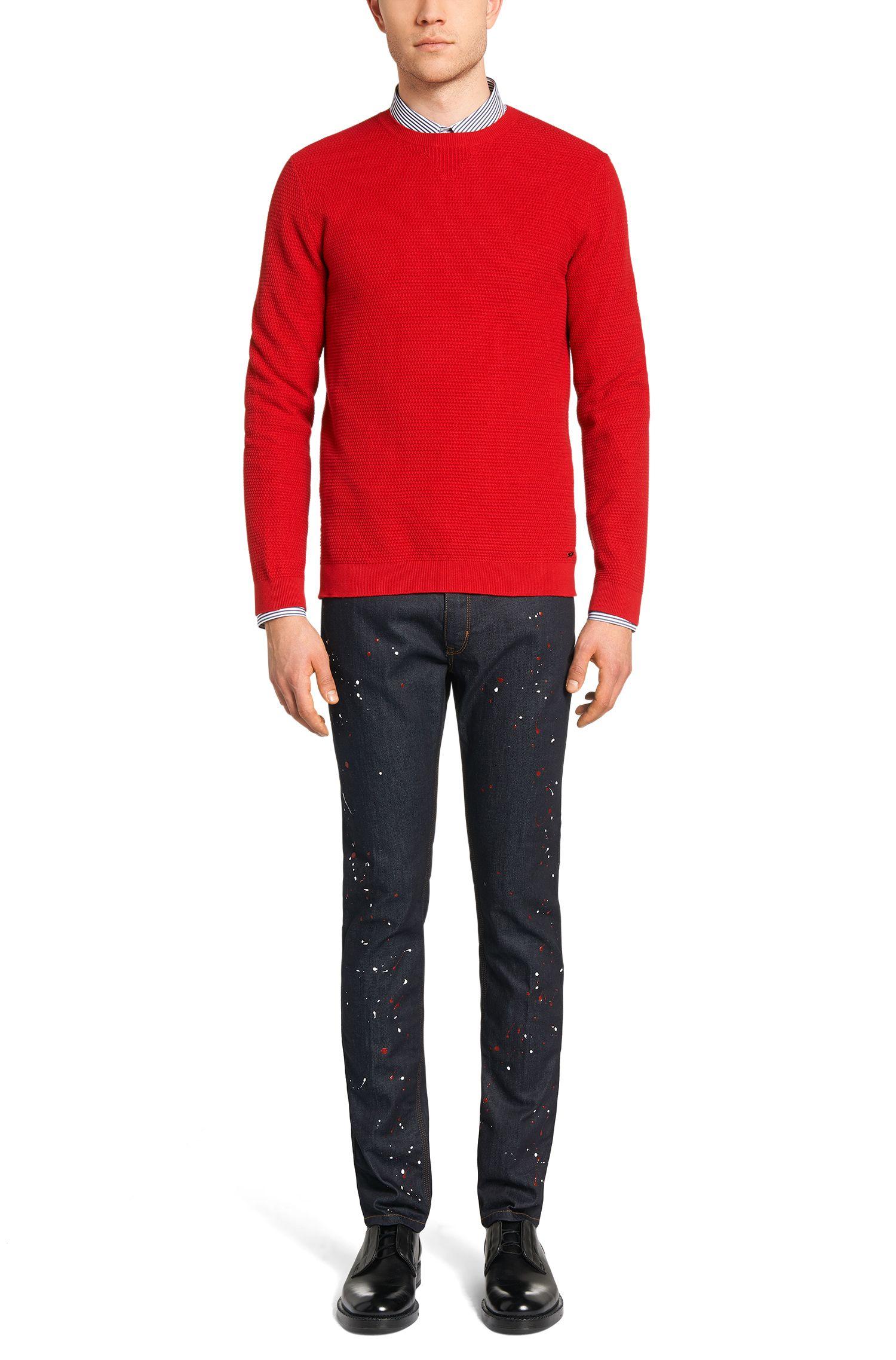 Gestreiftes Slim-Fit Hemd aus Baumwolle mit Kontrast-Details: 'Elisha'