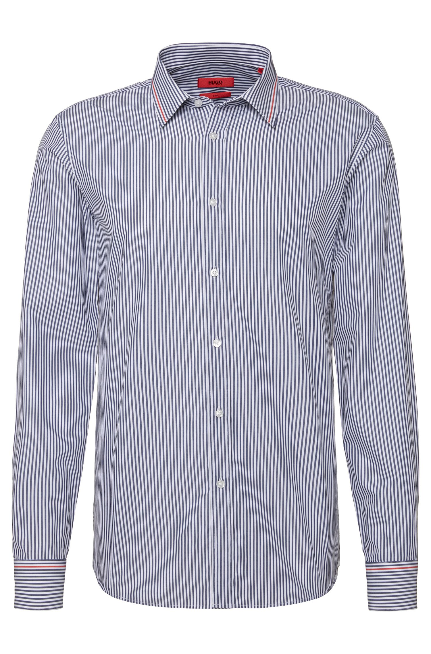 Striped slim-fit shirt in cotton with contrasting details: 'Elisha'