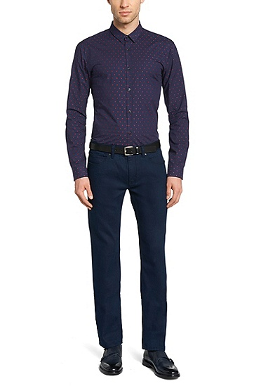 Patterned slim-fit shirt in cotton: 'Ero3', Dark Blue