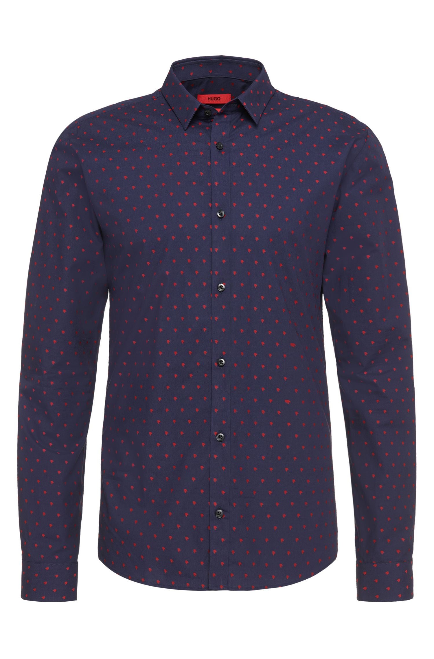 Patterned slim-fit shirt in cotton: 'Ero3'