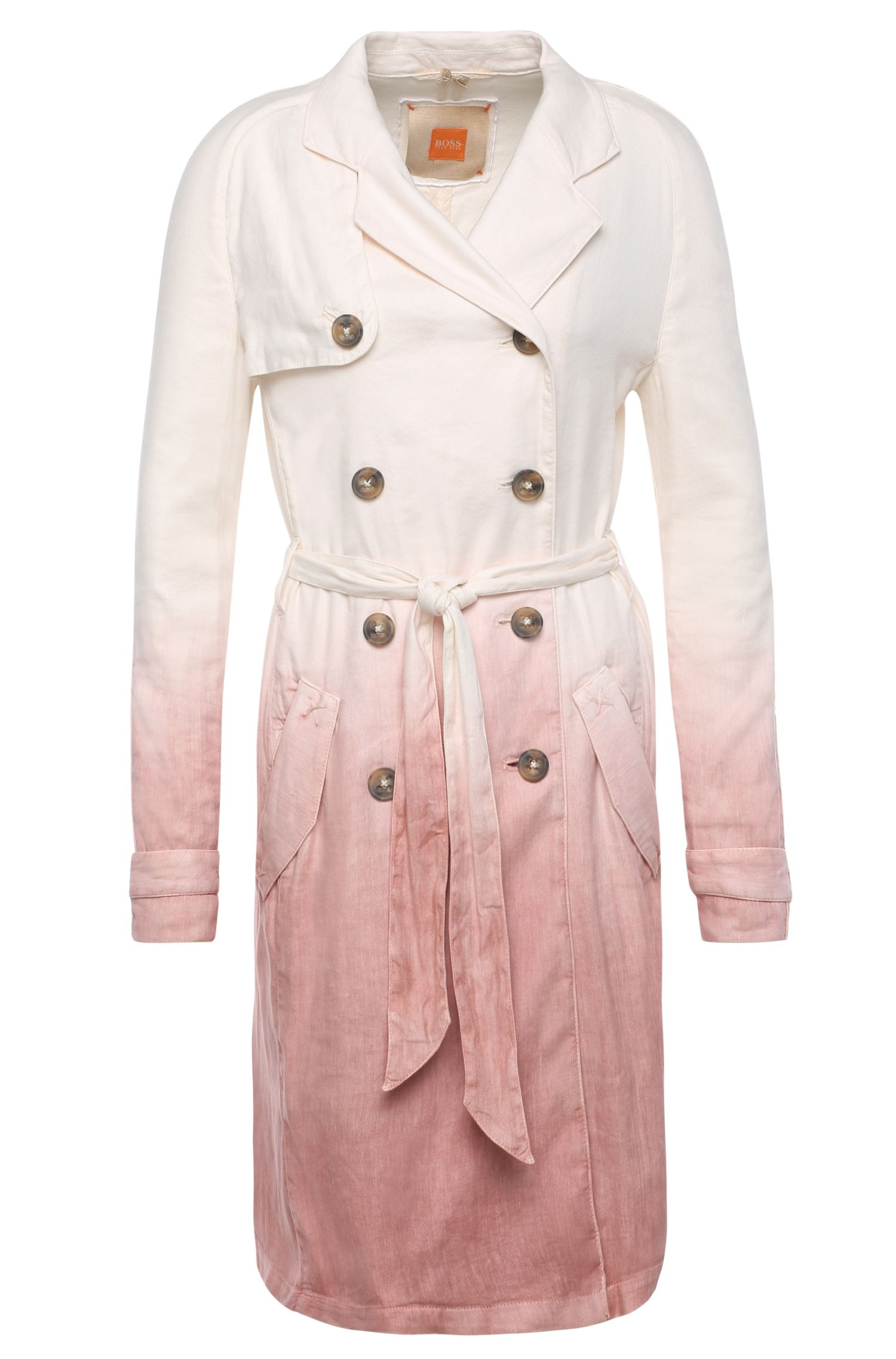 Trench coat in linen blend with colour-graduated effect: 'Odippy-D'