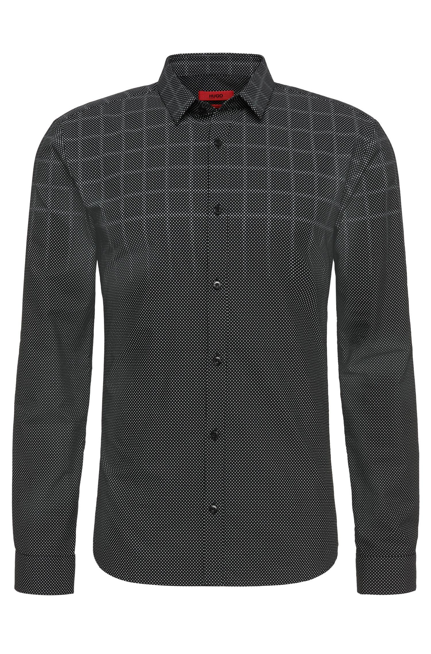 Gestippeld slim-fit overhemd van zuivere katoen: 'Ero3'