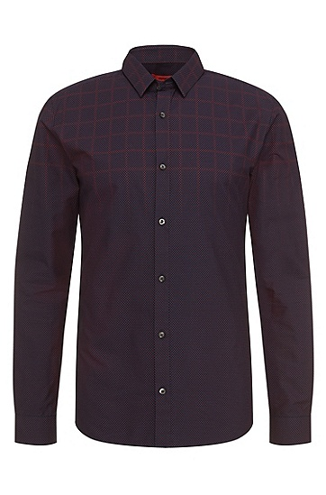 Polka-dot-pattern slim-fit shirt in pure cotton: 'Ero3', Dark Blue