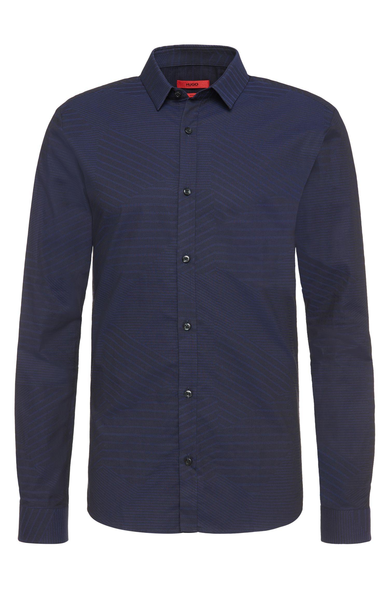 Chemise à motif Slim Fit en pur coton: «Ero3»