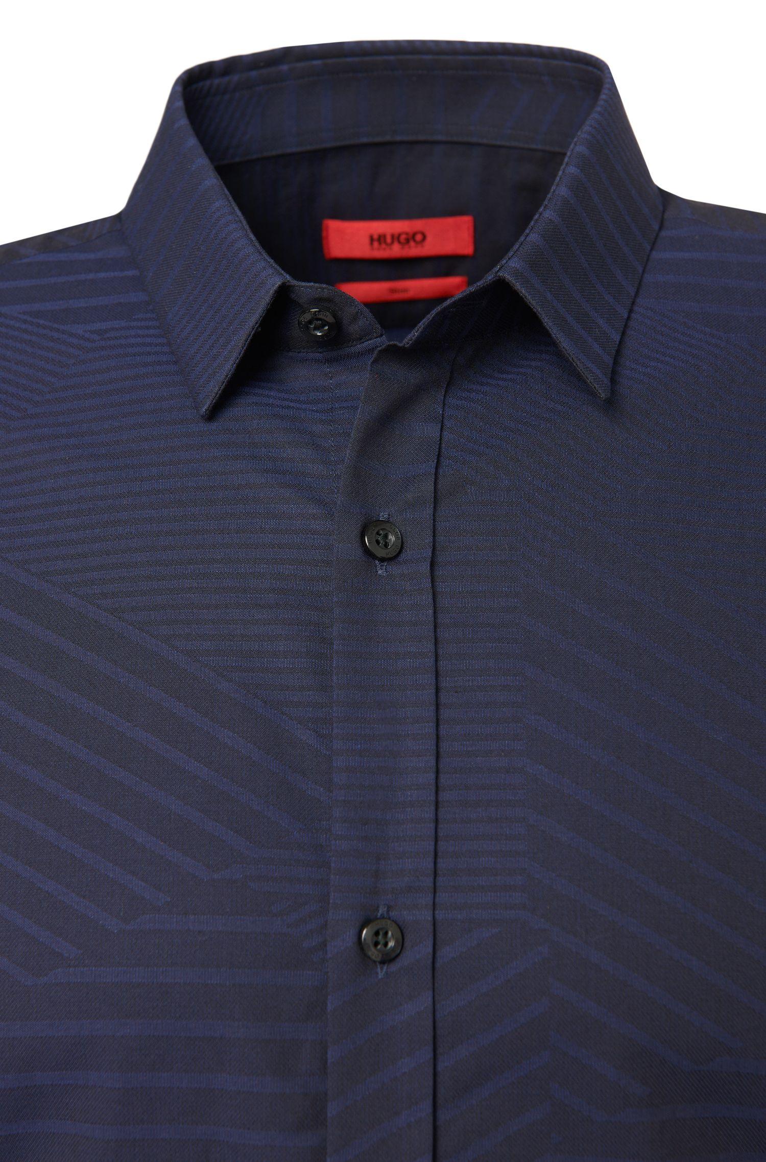 Gemustertes Slim-Fit Hemd aus reiner Baumwolle: 'Ero3'