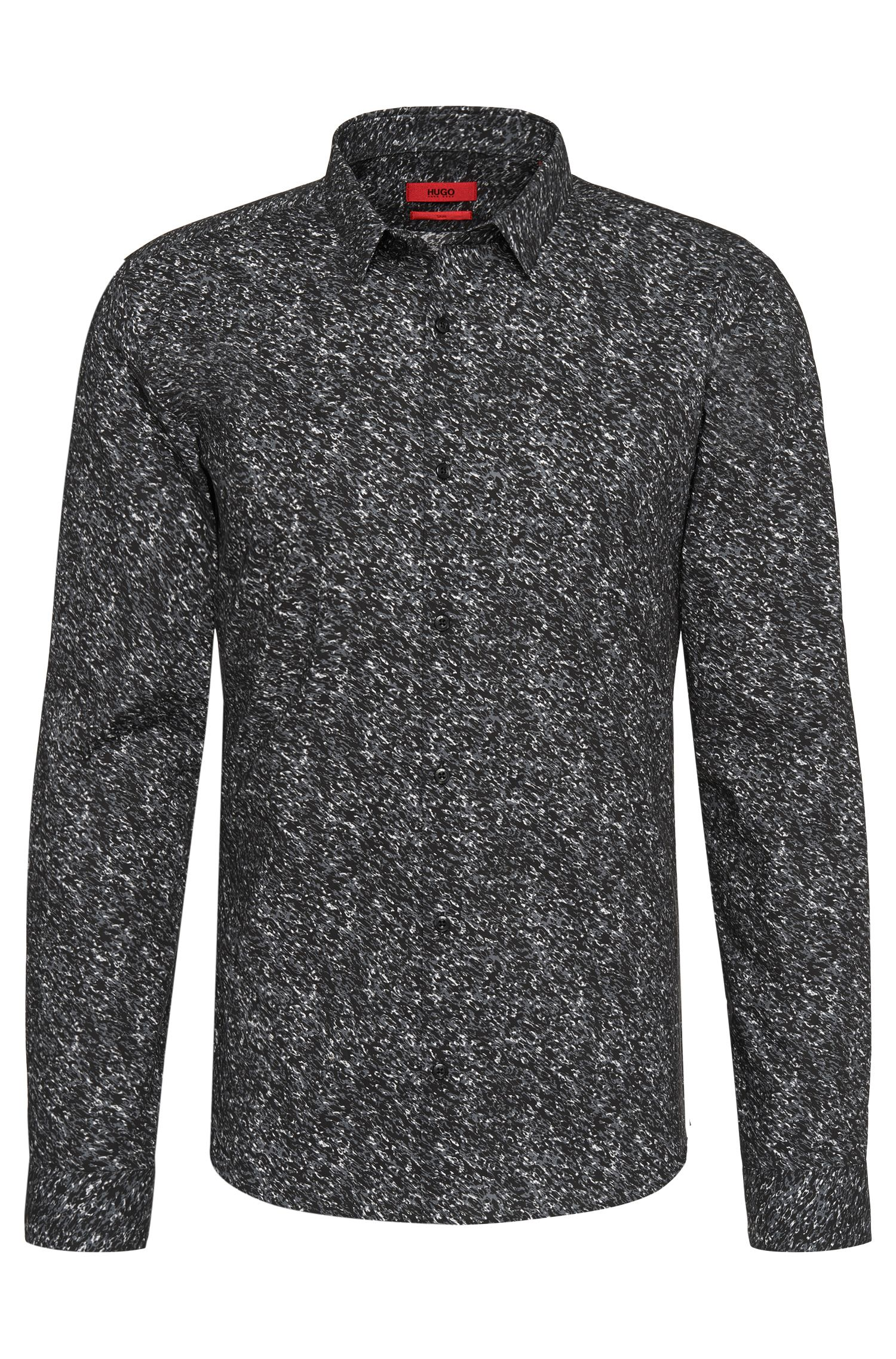 All-over patterned slim-fit shirt in cotton: 'Ero3'