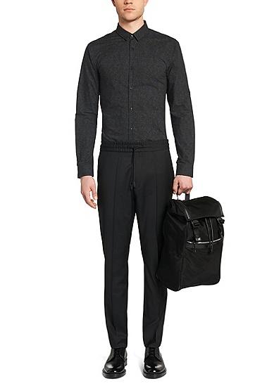 Allover gemustertes Slim-Fit Hemd aus Baumwolle: 'Ero3', Hellgrün