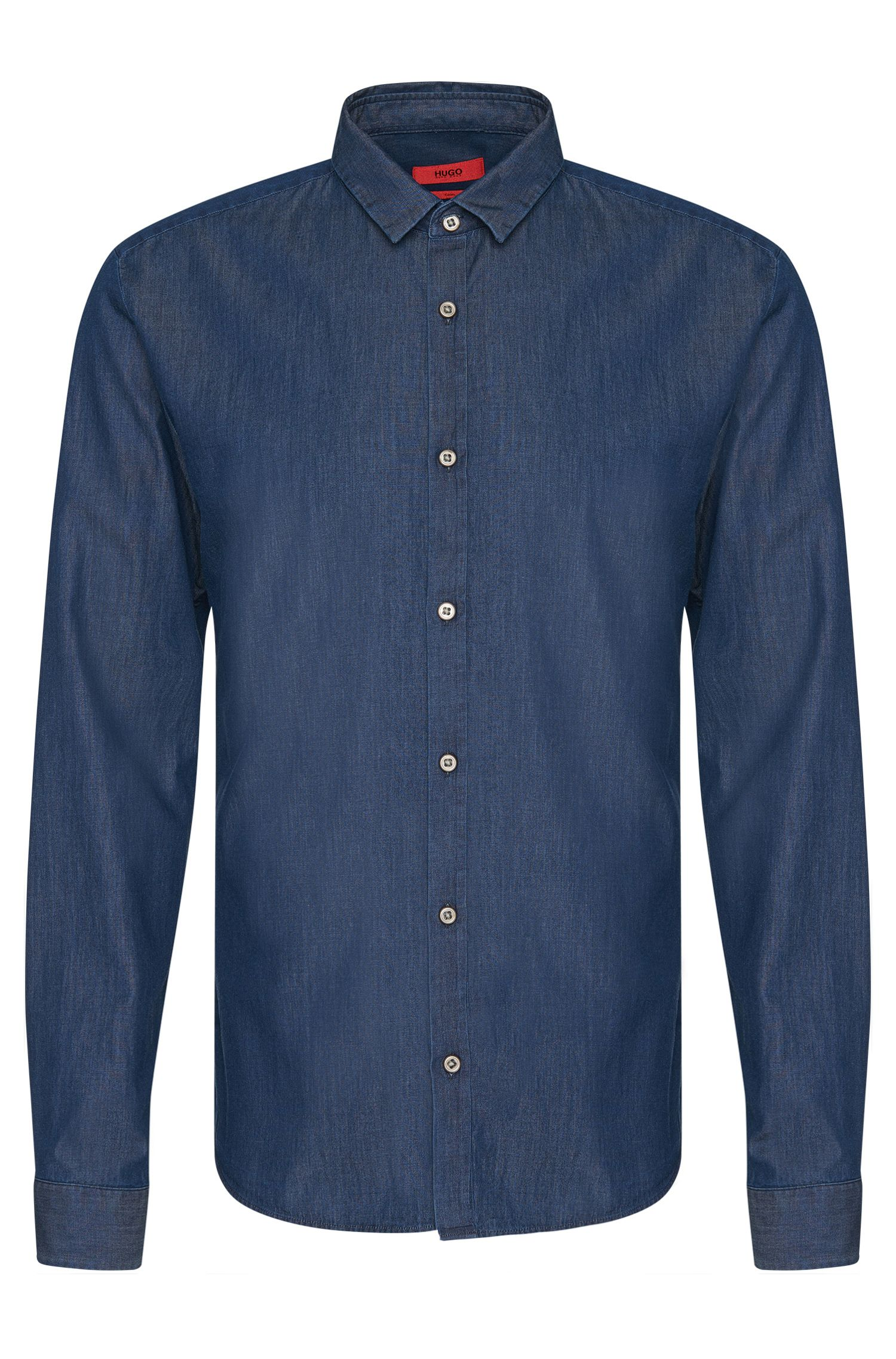 Chemise Slim Fit en coton au look denim : « Ero3 »