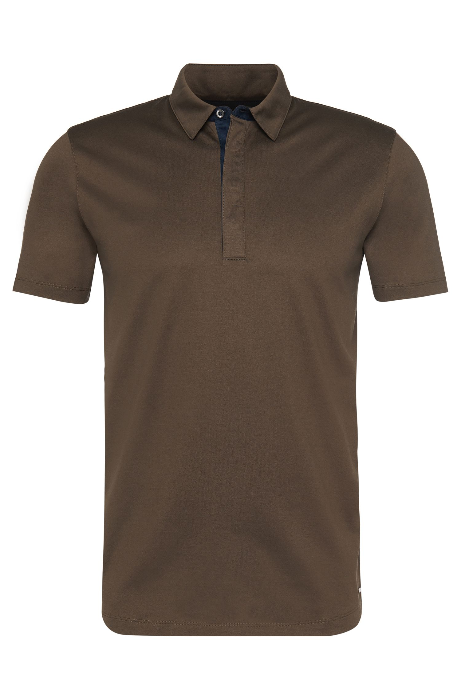 Regular-fit polo shirt in cotton with contrasting details: 'Dellos'
