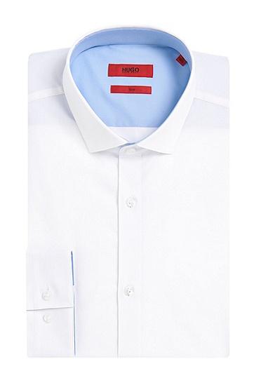 Slim-Fit Hemd aus Stretch-Baumwolle mit kontrastiven Details: 'Erondon', Weiß
