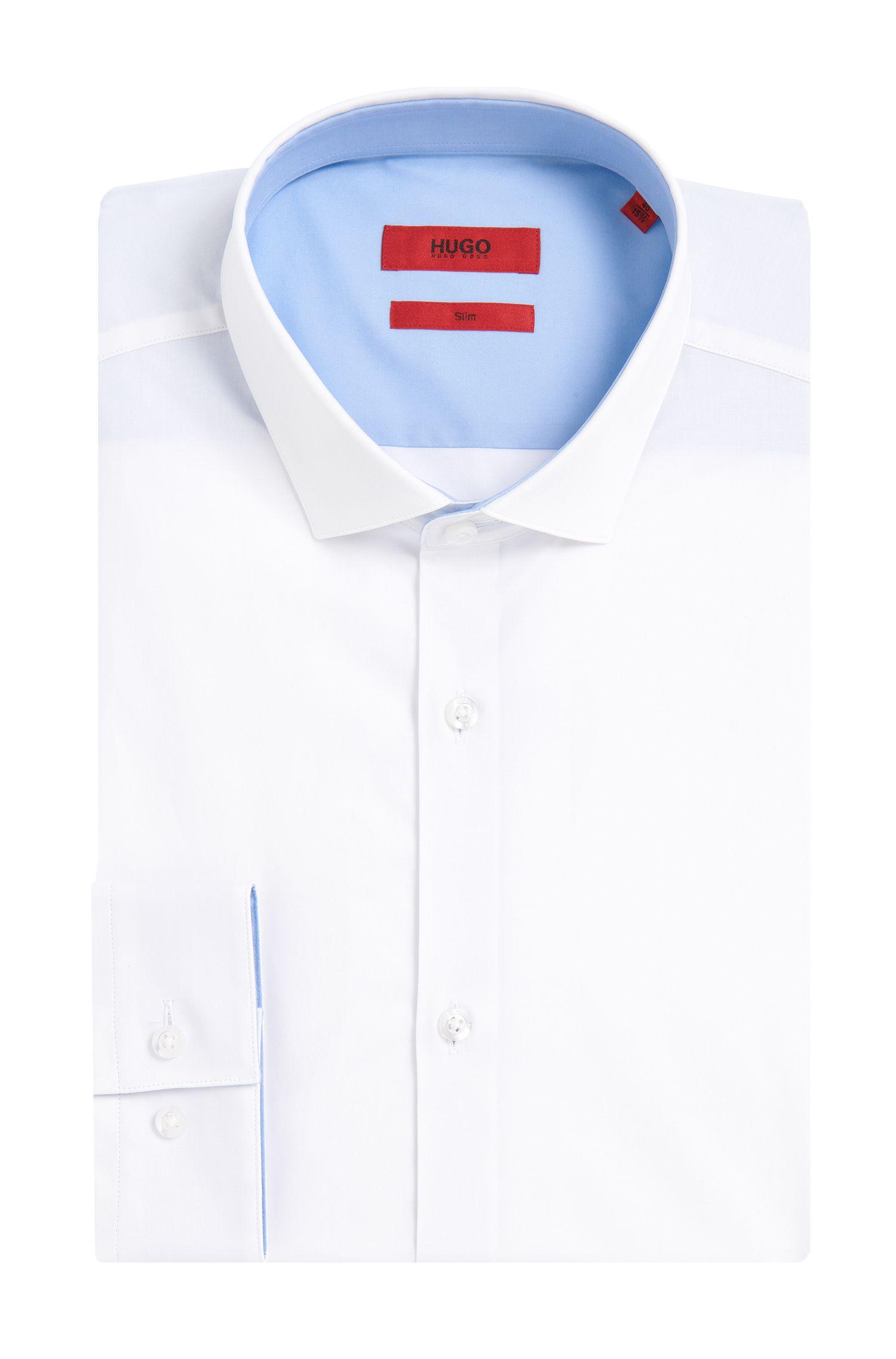 Slim-fit overhemd van stretchkatoen met contrastdetails: 'Erondon'