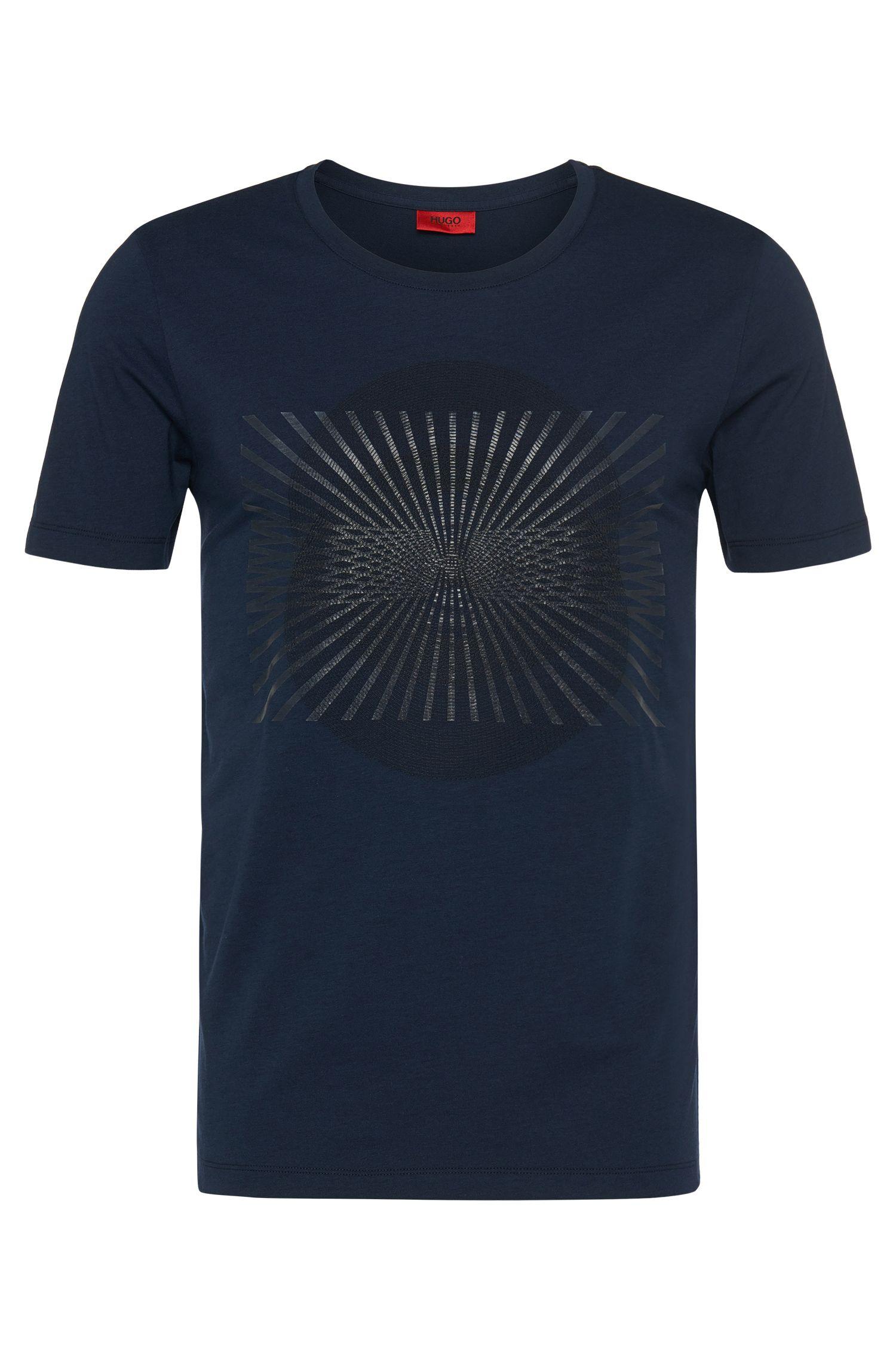T-shirt Regular Fit en coton mélangé à imprimé et broderie: «Dircle»