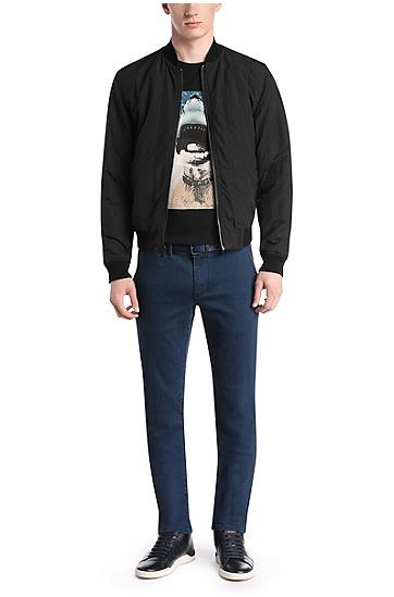 T-shirt imprimé en coton Pima: «Treyno 1», Noir