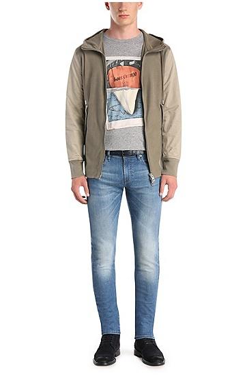 T-shirt en pur coton à imprimé sur le devant: «Treyno2», Gris chiné