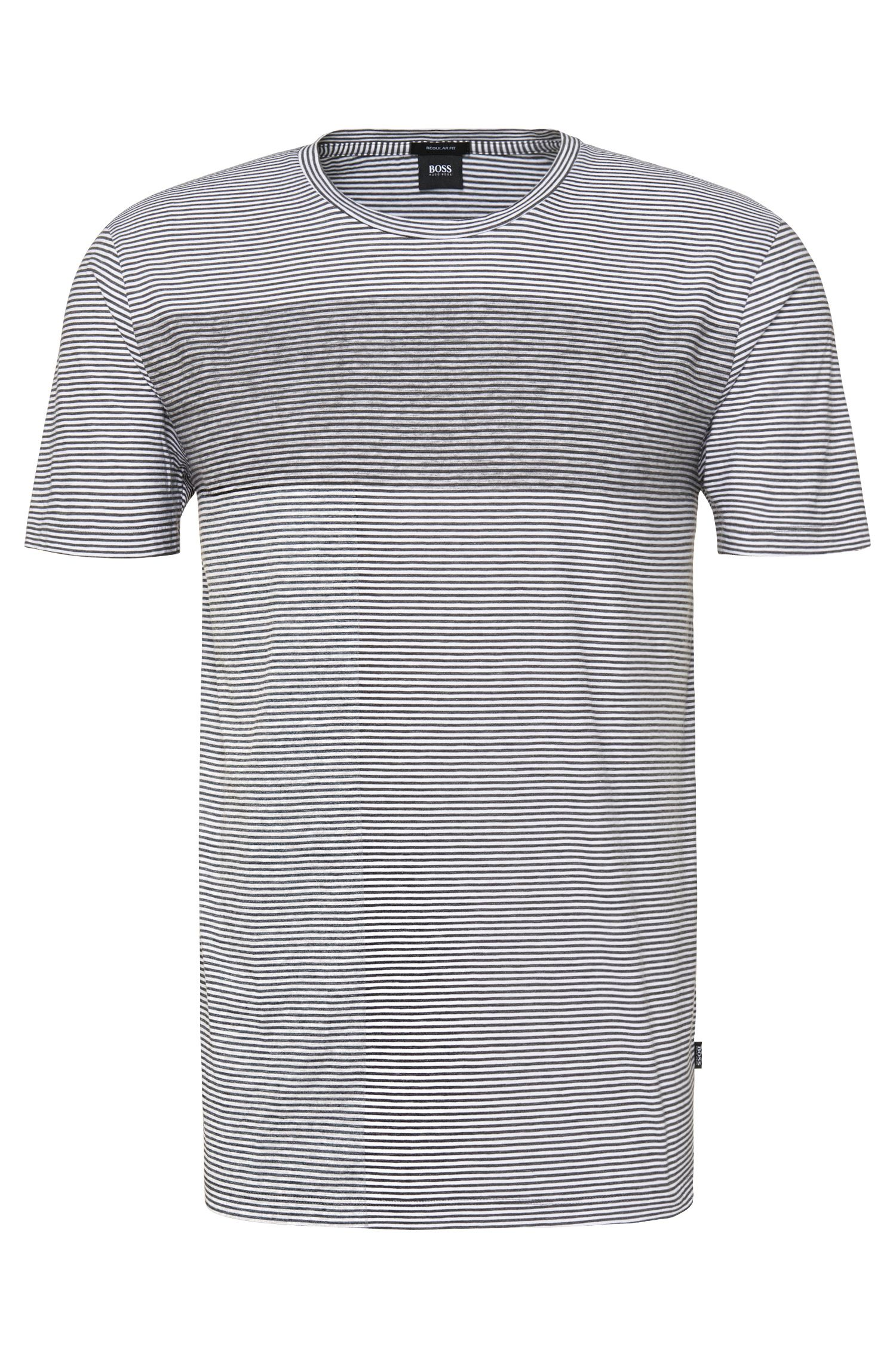 T-shirt Regular Fit en pur coton à rayures : « Tiburt 10 »